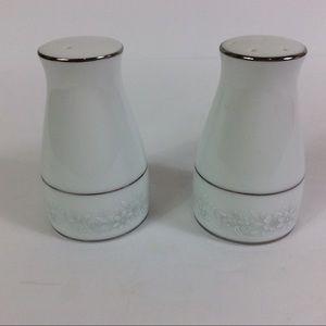 Salt & Pepper Shakers By Noritake White An Silver
